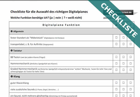 Digitalpiano-Checkliste